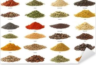 Forskellige krydderier isoleret på hvid baggrund. Stort billede Pixerstick klistermærke