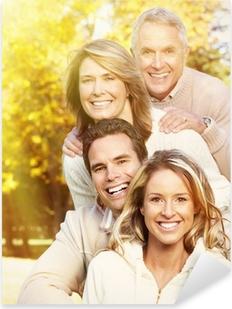 Glad familieportræt. Pixerstick klistermærke