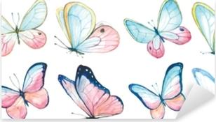 Indsamling akvarel af flyvende sommerfugle. Pixerstick klistermærke