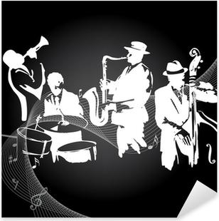 Jazz koncert sort baggrund Pixerstick klistermærke