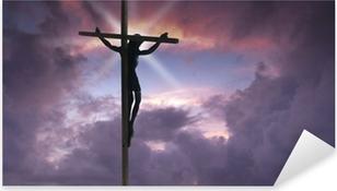 Jesus Kristus på korset. Pixerstick klistermærke