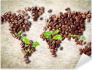 Kaffe rundt om i verden Pixerstick klistermærke