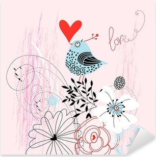 Kærlighed fugl Pixerstick klistermærke