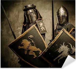 Middelalderlige riddere på grå baggrund. Pixerstick klistermærke