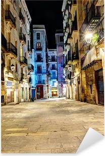 Nat scene i gotisk kvarter, Barcelona, Spanien Pixerstick klistermærke