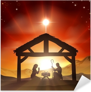 Nativity Christian Christmas Scene Pixerstick klistermærke