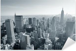 New York City skyline sort og hvid Pixerstick klistermærke
