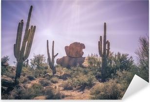 Ørken bjergarter saguaro kaktus træ landskab Pixerstick klistermærke