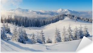 Panorama over vinterbjerge Pixerstick klistermærke