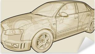Perspektiv skitseret illustration af en Audi A4. Pixerstick klistermærke