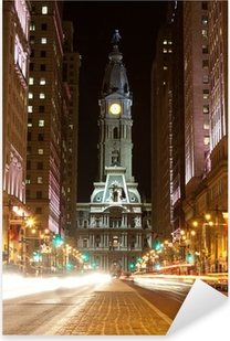 Philadelphia gader om natten Pixerstick klistermærke