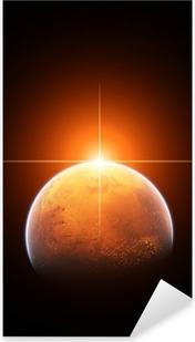Planet Mars med stigende sol Pixerstick klistermærke
