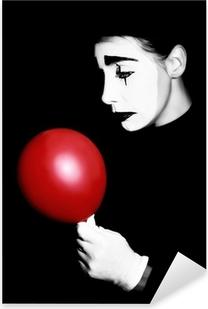 Sad mime performer Pantomime Pixerstick klistermærke