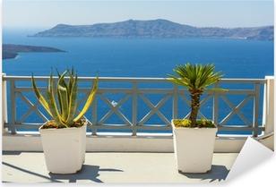 Smuk havudsigt fra Fira I Santorini, Grækenland Pixerstick klistermærke