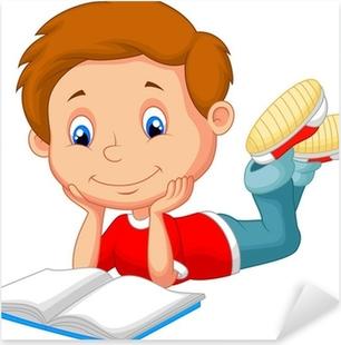 Fotomural Chico Lindo Libro De Lectura De Dibujos Animados Pixers