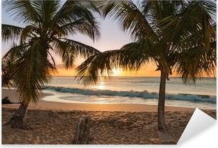 Solnedgang strand palmetræer bølger Pixerstick klistermærke