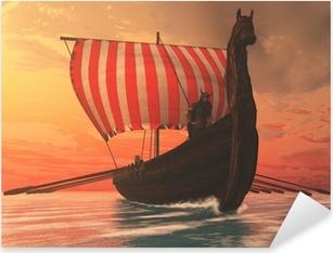 Viking Man og Longship Pixerstick klistermærke