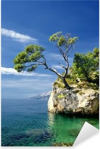 Pixerstick-klistremerke Berømt vakker stein med furutrær i Brela i Kroatia
