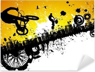Pixerstick-klistremerke BMX-ryttere i en bybakgrunn
