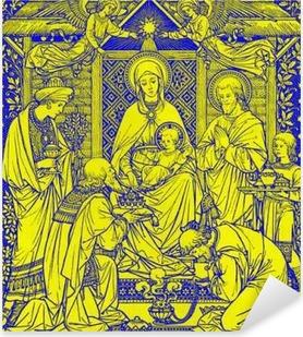 Pixerstick-klistremerke BRATISLAVA, SLOVAKIA, NOVEMBER - 21, 2016: Litografiene til Three Magi i Missale Romanum av ukjent kunstner med initialene FMS fra slutten av 19 cent. og trykt av Typis Friderici Pustet.