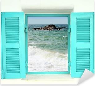 Pixerstick-klistremerke Gresk stil vindu med havutsikt