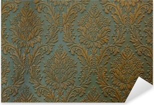 Pixerstick-klistremerke Grønn gullvegg ornament tekstur bakgrunn