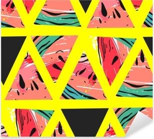 Pixerstick-klistremerke Hånd trukket vektor abstrakt collage sømløs mønster med vannmelon motiv og trekant hipster former isolert på farge background.unusual dekorasjon for bryllup, bursdag, mote stoff, lagre datoen.