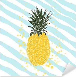 Pixerstick-klistremerke Håndtrukket ananas. Vector bakgrunn