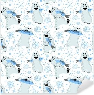 dc7c6ce8 Lerretsbilde Søt hipster isbjørn med briller og jule genser • Pixers® - Vi  lever for forandring