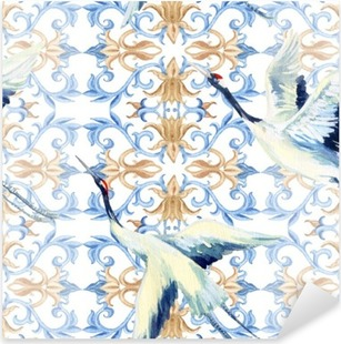 Pixerstick-klistremerke Kinesisk akvarell sømløs mønster