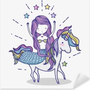 Pixerstick-klistremerke Liten havfrue med unicorn kunst tegneserie