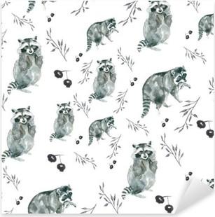 Pixerstick-klistremerke Mønster vaskebjørn. Vaskebjørn og små grener, bær. vannfarge