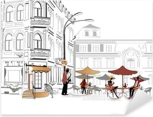 Pixerstick-klistremerke Serie av street cafe i skisser