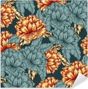 Pixerstick-klistremerke Sømløs grafisk blomstermønster