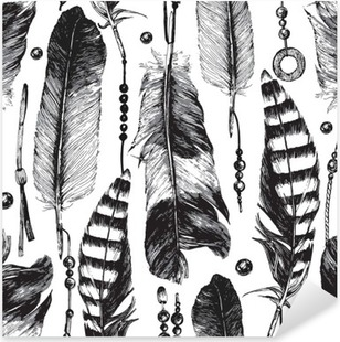 Pixerstick-klistremerke Sømløs mønster med håndtegnede fjær.