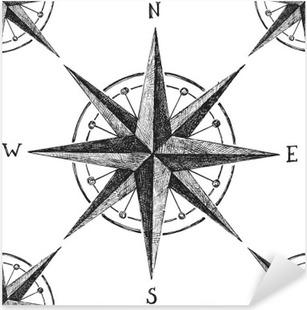 Pixerstick-klistremerke Sømløs mønster med vindrosa