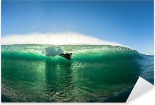 Pixerstick-klistremerke Surfing Bodyboarder Inside Hollow Wave Colors