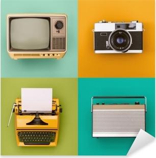 Pixerstick-klistremerke Vintage / retro tv, radio, kamera, skrivemaskin sett