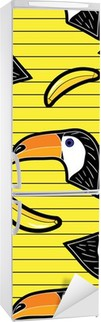 Koelkaststicker cartoon patch badges met banaan en toekan