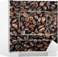 Fotobehang een koffiekop grafische tekening op koffiebonen behang