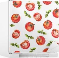 Fotobehang naadloos behang met tomaat en groene basilicum u2022 pixers