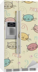 Koelkaststicker Naadloze patroon met doodle katten
