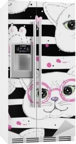 Koelkaststicker Schattige katten naadloze patroon achtergrond