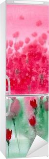 Akvarel maleri. Baggrund eng med røde blomster. Køleskab Klistermærke