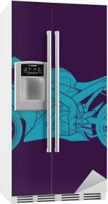 Blå sport cykel Køleskab klistermærke