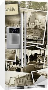 Collage udsigt over Marseille, sort / hvid billeder på et træ b Køleskab klistermærke