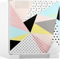Geometrisk memphis background.Retro design til invitation, visitkort, plakat eller banner. Køleskab Klistermærke