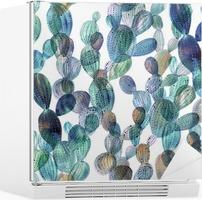 Kaktus mønster i akvarelstil. Køleskab Klistermærke