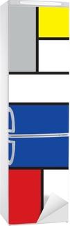 Mondrian inspireret kunst Køleskab klistermærke