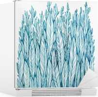 Mønster af blå blade, græs, fjer, akvarelblæk tegning Køleskab Klistermærke